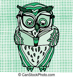 Green owl reading on patterned background