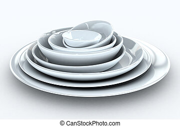 Stack of plates - Stack of white plates - isolated on white...
