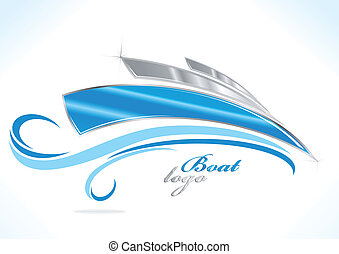 business boat logo with blue waves