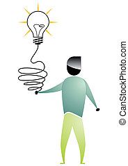 business man cartoon with bulb connected to the hand