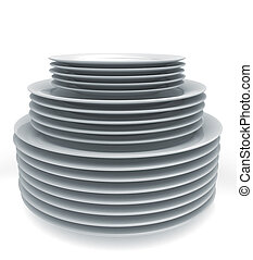 Stack of plates - Stack of white plates isolated on white...