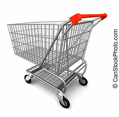 Shopping Trolley - 3d illustration of Shopping Trolley...