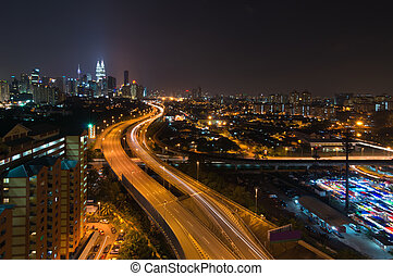 Kuala Lumpur city - Night view of elevated busy highway...