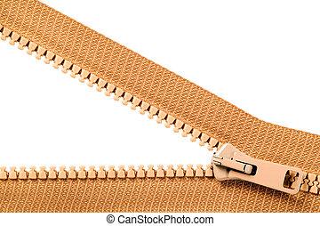 Brown zip with metal teeth, unzipped, clothing industry
