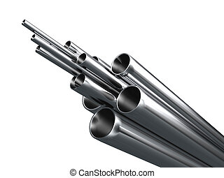 Metal tube - Grey metal tube object isolated on white...