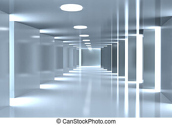 Modern corridor, Architectural background in blue tone