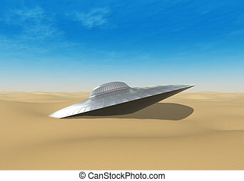 UFO crashed in the desert - Alien UFO crashed in the desert...