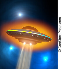 Flying saucer - UFO, flying saucer and energy beam, sci-fi...