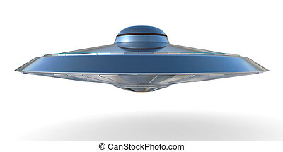 UFO, Unidentified flying object isolated on white