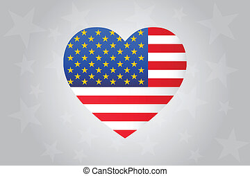 I Love America - Heart With United States Of America Flag...