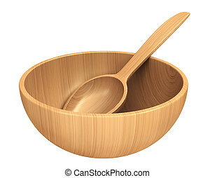 Empty wooden dish and spoon