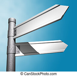 Direction Sign - 3d empty Direction Sign over blue sky