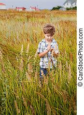Joyful little boy running around in a field