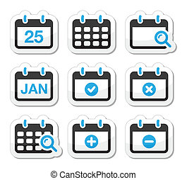 Calendar date vector icons set - Black and blue labels...