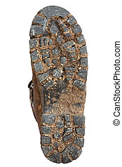 Muddy Hiking Boot Sole - Muddy sole of a hiking boot,...