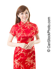cheongsam woman - Attractive Chinese woman dress traditional...