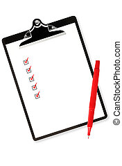 Clipboard with Checklist - Checklist on clipboard, with red...
