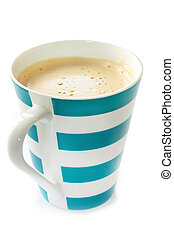 Mug of Frothy Coffee - Blue and white striped mug of frothy...
