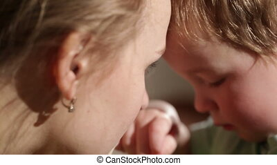 Mom and her son kissing Lovely close ups