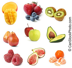 Fruits Collection - Collection of fresh fruits, isolated on...
