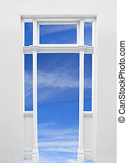 Doorway to the World - Doorway with blue sky behind. A...
