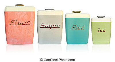 Retro Kitchen Canisters - Retro 1950\'s kitchen storage...