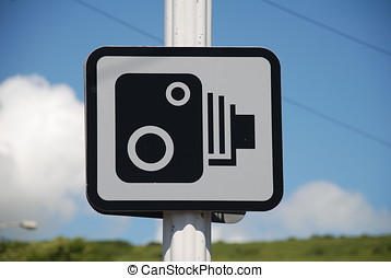 Speed camera sign, England - A speed camera warning sign on...