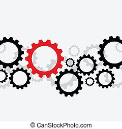 Bad gear - Background with black gears and one red