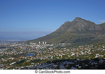 Cape Town in South Africa. Large city nestling beneath Table...