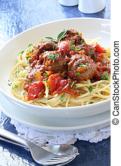 Spaghetti and Meatballs - Spaghetti and meatballs, in a...