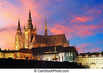 Praga, castello, tramonto, -, ceco, repubblica