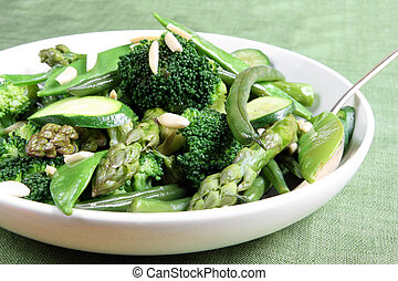 Green Vegetables - Serving bowl of mixed green vegetables,...
