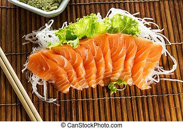 Cortar, crudo, Salmón, sashimi