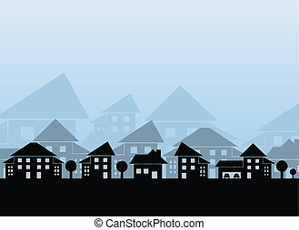 Estate skyline - Houses different forms on blue background