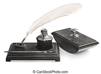 Vintage Writing Set - Vintage writing set, including feather...