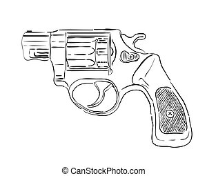 black revolver with a white background