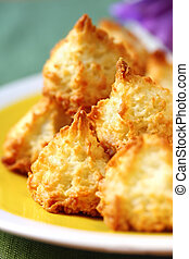 Coconut Macaroons - Coconut macaroons on a sunny yellow...