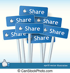 Collection of Share signs - 3d vector signposts with the...