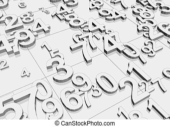 Numbers - Chaotically placed numbers 3d rendered background