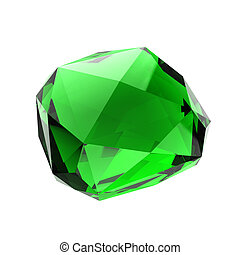 Green gemstone - Blue gemstone - isolated on white...