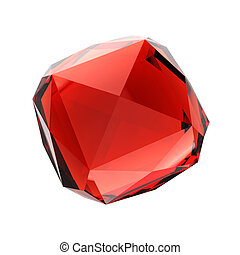 Red gemstone - Blue gemstone - isolated on white background