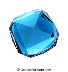Blue gemstone - isolated on white background