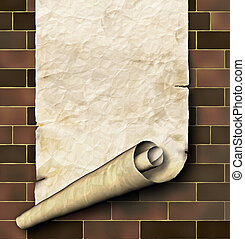 Antique paper scroll on the brick wall