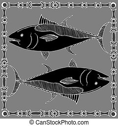 Pisces horoscope sign - Pisces - fish black and white on...