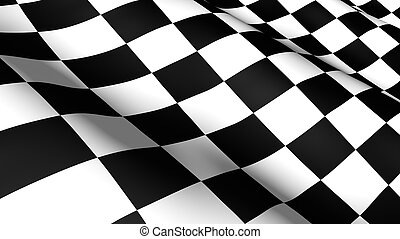 Racing Flag - 3d rendered checkered Racing Flag