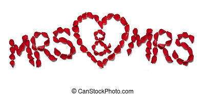 Red rose petals spelling mrs and mrs on white background