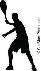 Silhouette of tennis player, vector