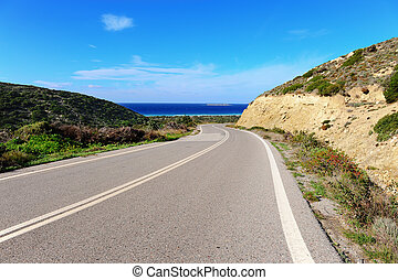 Road of Rhodes - Asphalt Road along the Coast of the Greek...