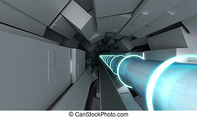 Hadron collider tunnel, 3d illustration