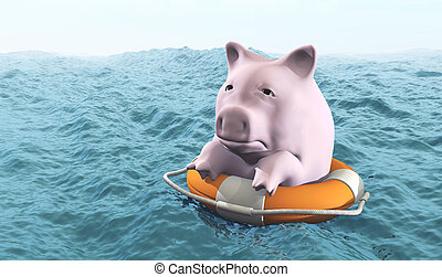 pink piggy on life preserver - a sad pink piggy hold on a...